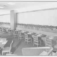 Schrafft's, Esso Building, Rockefeller Center, New York City. Window boxes, main dining room