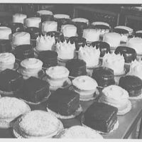 Schrafft's, Madison Ave. and 58th St., New York City. Cakes in bakery