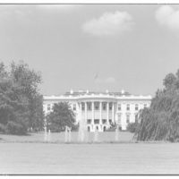 White House exteriors. South side of White House with fountain, horizontal IV