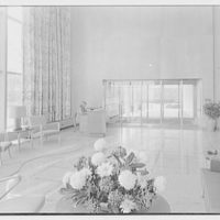 Johnson & Johnson, Metuchen, New Jersey. Wide view of entrance lobby, to entrance