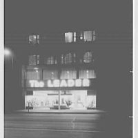 Leader's, business in Lima, Ohio. Night exterior, front