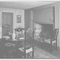 Mary Allis, residence in Fairfield, Connecticut. Dining room, to fireplace