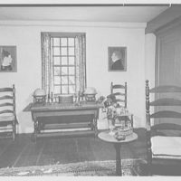Mary Allis, residence in Fairfield, Connecticut. Living room table and globes