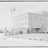 C.A.A. Federal Building, International Airport, New York City. Exterior, from right I