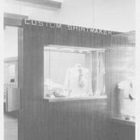 John Forsythe, business at 348 Madison Ave., New York City. Exterior, custom shirts detail