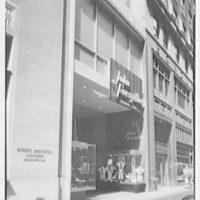 John Forsythe, business on Madison Ave., New York City. General exterior, daytime