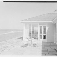 Mr. and Mrs. Lawrence W. Miller, residence in Nantucket, Massachusetts. Terrace view to beach