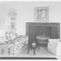 Mr. and Mrs. Lawrence W. Miller, residence in Nantucket, Massachusetts. View in living room toward fireplace