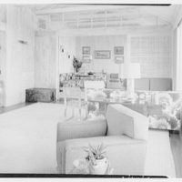 Mr. Jules Thebaud, residence in Nantucket, Massachusetts. View to living room and dining room