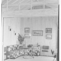 Mr. Jules Thebaud, residence in Nantucket, Massachusetts. View to table and bench
