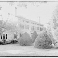 Mrs. Marion McMillin, residence on Clapboard Ridge Rd., Greenwich, Connecticut. Entrance facade