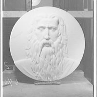 Statues and sculpture over the door of the gallery of House chamber, U.S. Capitol. Moses medallion I