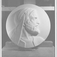 Statues and sculpture over the door of the gallery of House chamber, U.S. Capitol. Maimonides medallion II