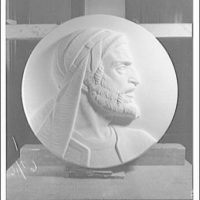 Statues and sculpture over the door of the gallery of House chamber, U.S. Capitol. Maimonides medallion I