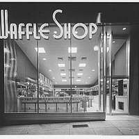 Waffle Shop on 10th Street. Exterior of Waffle Shop with neon sign III