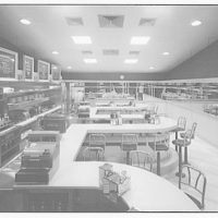 Waffle Shop on 10th Street. Interior of Waffle Shop to counters and stools I