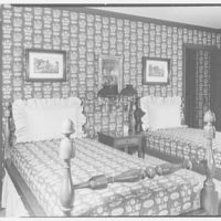 Bell, residence on Cheese Spring Rd., Wilton, Connecticut. Bedroom, to beds