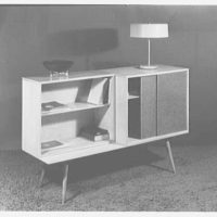 Berge-Norman Associates, business at 45 E. 28th St., New York City. Two cabinets on bench
