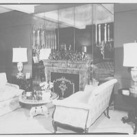 Milton Rackmil, residence at 140 Riverside Dr. Living room, to fireplace