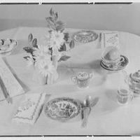 Mrs. C. Turner Richardson, residence at 321 Arleigh Rd., Douglaston, Long Island, New York. Child's dishes and arrangement