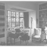 Mrs. Julian Bach, residence at 33 E. 70th St., New York City. Living room bay window