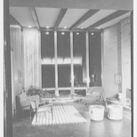 Prisant Properties, Pilot House, King's Point Rd. and Tredway Rd., Great Neck, Long Island. Head-on, living room at night