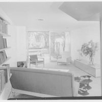 Russel Wright, residence and business at 223 1/2 E. 48th St., New York City. Living room, to garden
