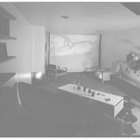 Russel Wright, residence and business at 223 1/2 E. 48th St., New York City. Living room at night, picture on screen