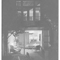 Russel Wright, residence and business at 223 1/2 E. 48th St., New York City. Night shot from garden