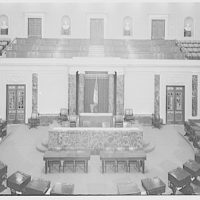 U.S. Capitol interiors. Senate chamber rostrum in U.S. Capitol, remodeled