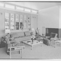 E.H. Wobbers, residence in Westhampton Beach, New York. Living room, fireplace detail