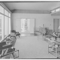 E.H. Wobbers, residence in Westhampton Beach, New York. Living room, to porch