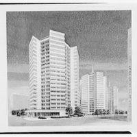 Fellheimer & Wagner. Copy of rendering, hexagonal apartment houses