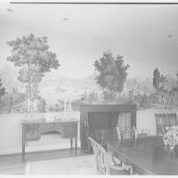 George Parkman Denny, residence on Bacon Rd., Old Westbury, Long Island. Dining room, to fireplace