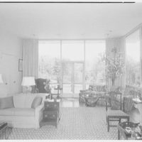 George Parkman Denny, residence on Bacon Rd., Old Westbury, Long Island. Living room, to window