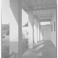 George Parkman Denny, residence on Bacon Rd., Old Westbury, Long Island, New York. Breezeway to garage