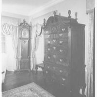 Michael Taradash, residence in Ardsley-on-Hudson, New York. Living room, highboy and clock