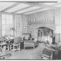 Mr. and Mrs. Ralph J. Schwarz, residence in Goldens Bridge, New York. Den, to fireplace