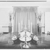 Mr. and Mrs. Ralph J. Schwarz, residence in Goldens Bridge, New York. Dining room, to window (night)