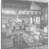 Mrs. Christopher J. Mileham, residence in Sharon, Connecticut. View to books