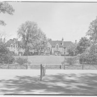 Mrs. Eleanor Widener Dixon, residence at 9002 Crefeld St., Chestnut Hill, Pennsylvania. House from tennis court