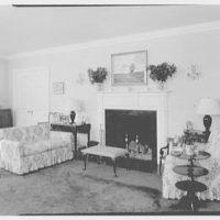 Mrs. Harold I. Pratt, residence on Shutter Lane, Oyster Bay Cove, Long Island. Living room, to fireplace