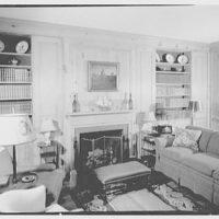 Mrs. Harold I. Pratt, residence on Shutter Lane, Oyster Bay Cove, Long Island. Pine study, to fireplace