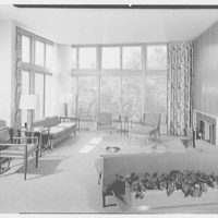 Harold E. Hoffman, residence on Brookdale Rd., Stamford, Connecticut. Living room, to window