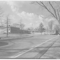 Highland School, Roslyn, Long Island. Exterior from entrance drive