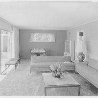 Marble Hills, Huntington, Long Island, New York. Creston house, living room to dinette