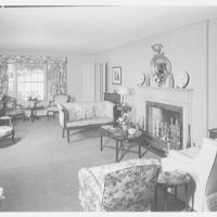 Mrs. Leon Abbett, residence on Pound Hollow Rd., Glen Head, Living room, to porch window