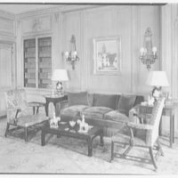 Mrs. Samuel Welldon, residence at 1 Sutton Place South, New York. Library, to sofa