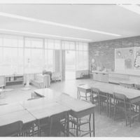 Grout Park School, Hamburg St., Schenectady, New York. Empty classroom, door open looking outdoors
