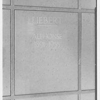 Crematory, Greenwood Cemetery, Brooklyn, New York. Detail of columbarium niche
